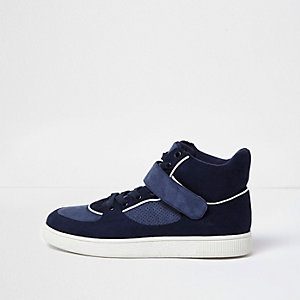 Navy strap hi-top trainers