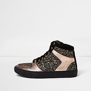 Bronze glitter panel hi tops