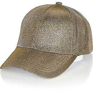 Metallic glitter gold cap
