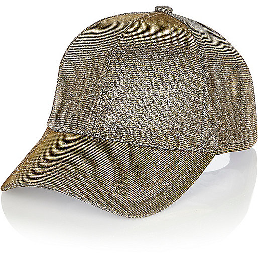 Casquette à paillettes dorées métallisées