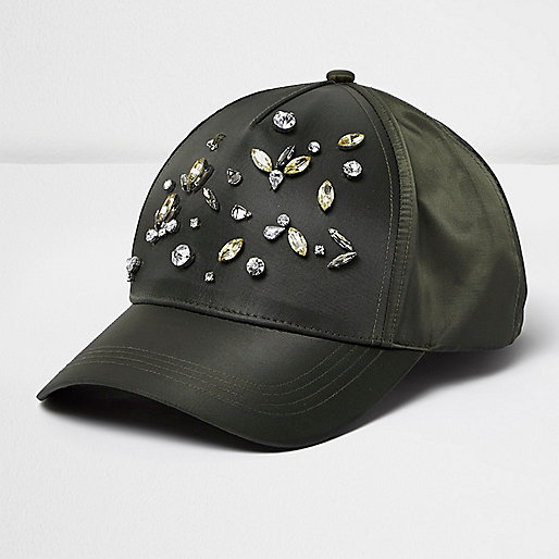 Khaki embellished cap