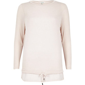 Blush pink tie hem hybrid top