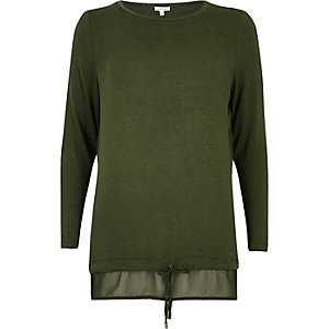 Khaki tie hem layered top