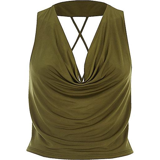 Khaki cowl neck strappy crop top