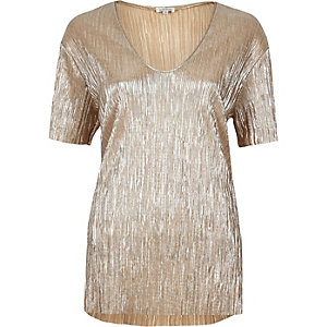 Gold pleated foil t-shirt