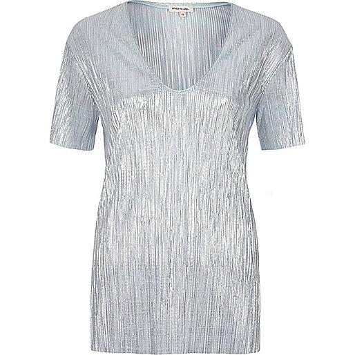 T-shirt plissé bleu métallisé