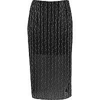 Black embellished mesh pencil skirt