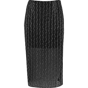 Black embellished mesh pencil skirt
