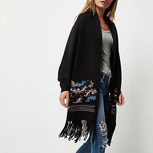 Cardigan brodé noir en maille avec écharpe