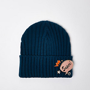 Blue knit badge beanie