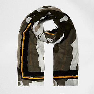 Khaki camo print long scarf