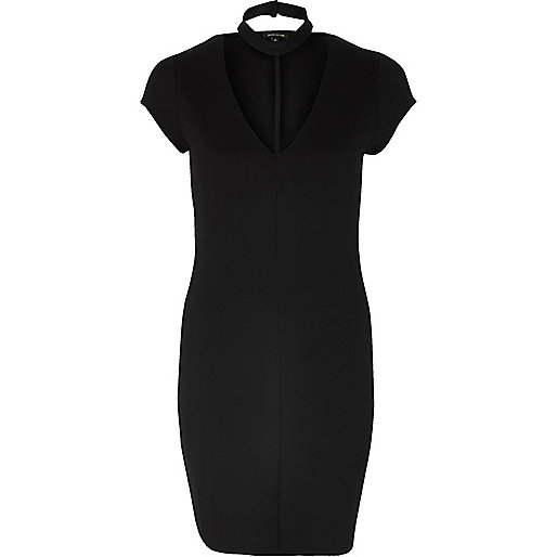 Black T-bar dress