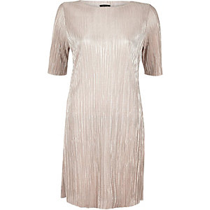 Rose gold metallic pleated dress