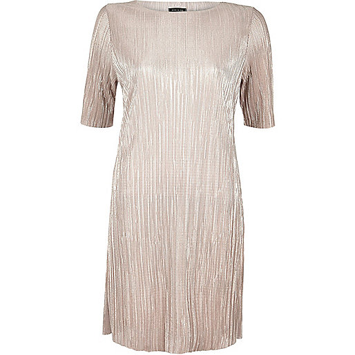 Rose gold metallic pleated dress