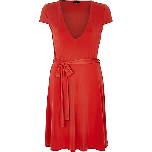 Robe patineuse rouge chic