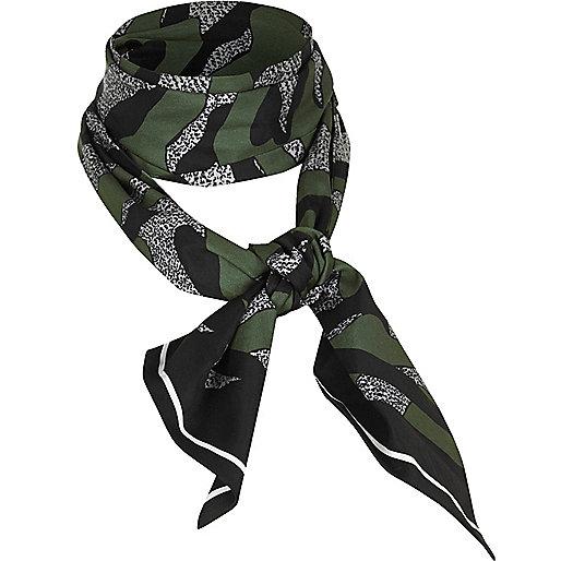 Khaki camo print tie neckscarf