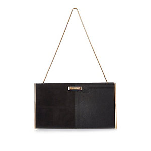 Black panel slim clutch bag