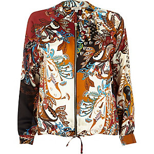 Red paisley print shacket