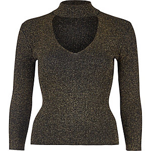 Sparkly gold choker top