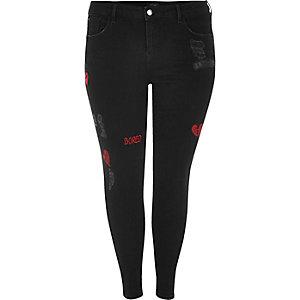 RI Plus – Amelie – Schwarze Super Skinny Jeans mit Aufnähern