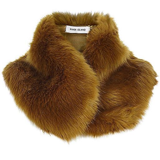 Brown faux fur tippet scarf