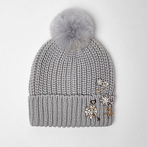Light grey embellished pom pom beanie