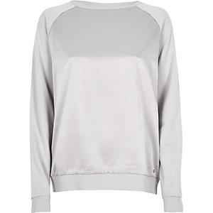 Silver satin front sweatshirt