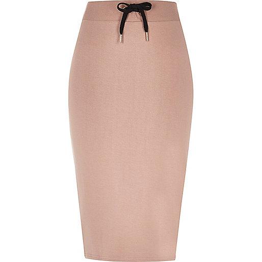 Light pink side stripe sweat skirt