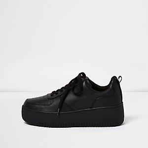 Baskets noires à plateforme avec lacets