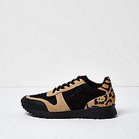 Schwarze Sneaker mit Leopardenmuster-Einsatz