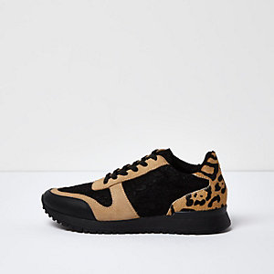 Black leopard print panel sneakers