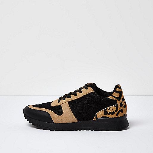 Baskets noires à empiècement imprimé léopard