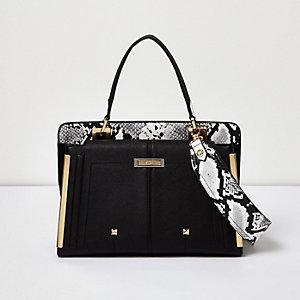 Black snake print small boxy handbag