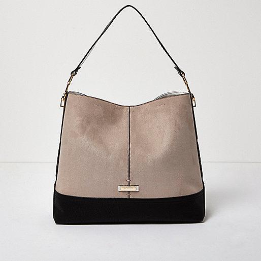 Beige contrast panel slouch handbag