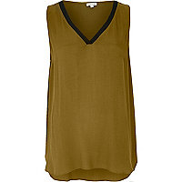 Khaki sporty V-neck tank