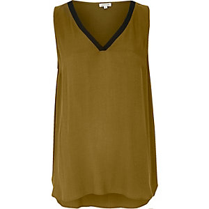Khaki sporty V-neck vest