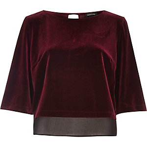 Dark red velvet chiffon hem top