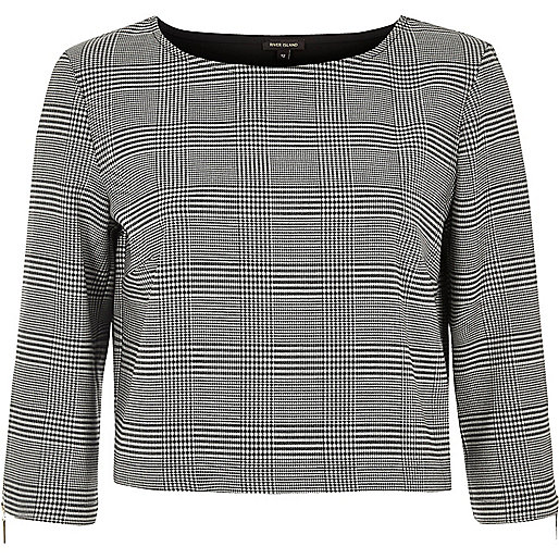 Black dogtooth print grazer top