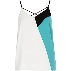 Turquoise color block strappy cami