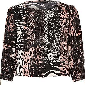 Pink animal print top