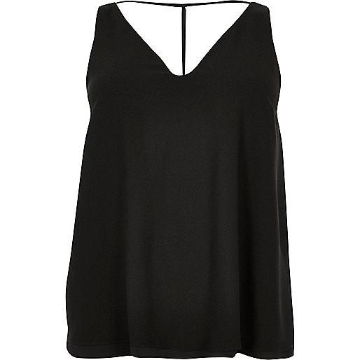 Plus black T-bar cami top