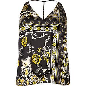 RI Plus black gold print strap back cami