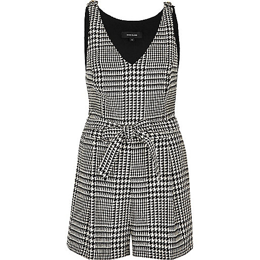 Black and white houndstooth print romper