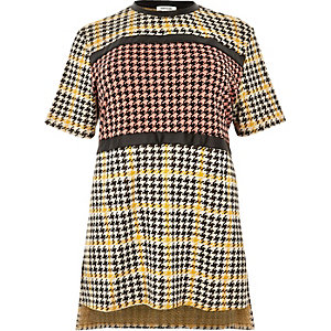 RI Plus yellow block houndstooth print tunic