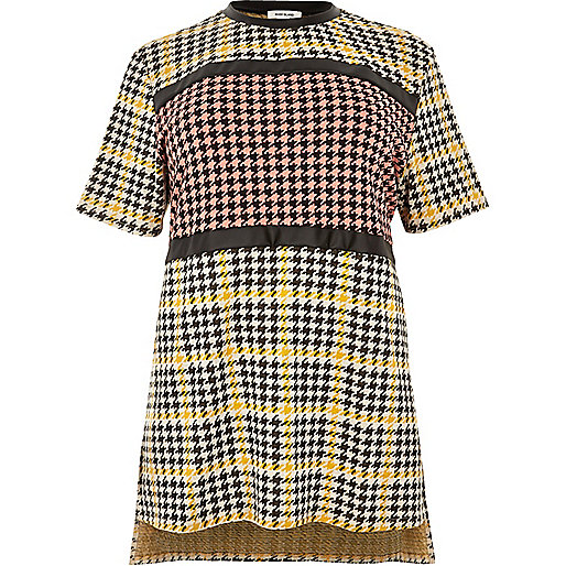 Plus yellow block dogtooth print tunic