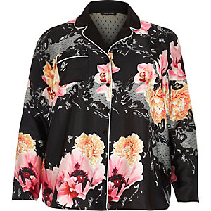 Plus black floral print pyjama shirt