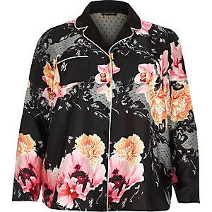 Chemise de pyjama Plus à fleurs noire