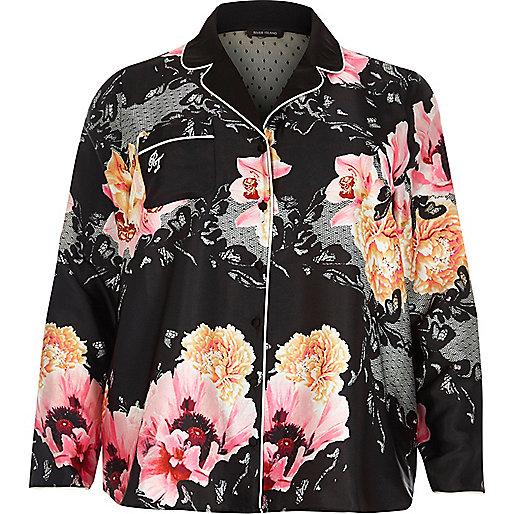 Plus – Schwarzes Pyjama-Oberteil mit Blumenmuster