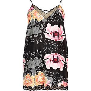 RI Plus black floral slip with lace detail