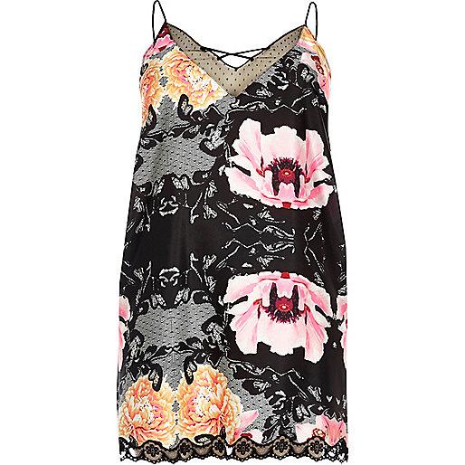 Plus – Schwarzes Kleid mit Blumenmuster und Spitze